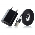 AC Charger + USB to Micro USB Data / Charging Flat Cable for Samsung / HTC + More - Black (EU Plug)