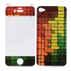 Grid Pattern Protective Plastic Screen + Back Protectors for iPhone 4 / 4S - Multicolored