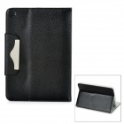 Lichee Pattern Protective PU Leather Cover Case for iPad Mini - Black