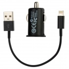 Car Charger Adapter + USB auf 8-Pin Blitz Lade-/ Datenkabel für iPhone 5 - Black (18cm)