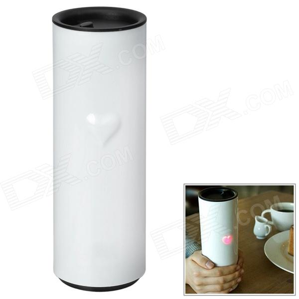 Romantic Lover Touch Temperature Sensing LED Heart Cup - White + Black (300ml)