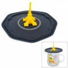 058 Eiffel Tower Silicone Cup Cover - Black + Yellow