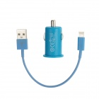 Car Cigarette Lighter Charger w/ Lightning 8-Pin to USB 2.0 Cable for iPhone 5 - Blue (DC 12V)