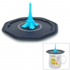 058 Eiffel Tower Silicone Cup Cover - Black + Blue