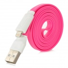 USB to 8-Pin Lightning Data / Charging Flat Cable for iPhone 5 / iPad 4 - Deep Pink (104cm)