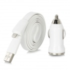 USB Car Charger + USB 8pin Blitz-Kabel für iPhone 5 / iPad 4 / iPad Mini - White