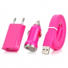 USB Car Charger + USB EU Plug Power Adapter + USB 8pin Blitz Cable - Deep Pink