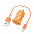 Car Charger + USB Charging 8-Pin Blitz-Kabel für iPhone 5 - Orange