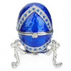 YLS750 Fashion CZ Diamond Egg Shaped Jewel Case - Sapphire Blue