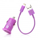 Car Charger Adapter + USB to 8-Pin Data / Charging Cable for iPhone 5 - Purple