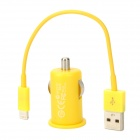 Car Cigarette Lighter Power Adapter + USB Male to Lightning 8-Pin Male Cable for iPhone 5 - Yellow