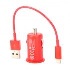 Zigarettenanzünder Power Adapter + USB Male Lightning 8-Pin-Stecker-Kabel für iPhone 5 - Red