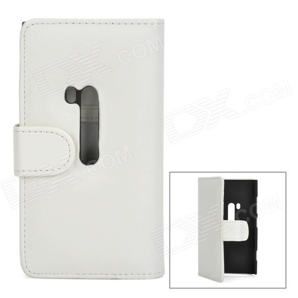 Protective PU Leather Flip Open Case w/ Card Slots for Nokia 920 - White