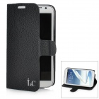 Lichee Pattern Protective PU Leather Case Stand w/ Card Slot for Samsung Galaxy Note 2 N7100 - Black