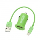 Car Charger + USB Charging 8-Pin Blitz-Kabel für iPhone 5 - Green