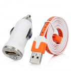 USB Car Charger w / USB 8pin Lightning Flat Datenkabel - Orange + Blau + Weiß (12-24V)