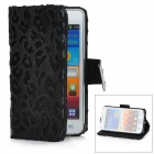 KALAIDENG Leopard Style Protective PU Leather Case Stand for Samsung Galaxy S2 i9100 - Black