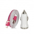 8 Pin Lightning Male to USB Male Data / Charging Cable + Car Charger for iPhone 5 - Rose Red