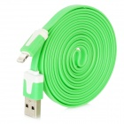 USB auf 8-Pin Lightning Data / Charging Flachbandkabel für iPhone 5 / iPad 4 / iPad Mini - Green (2m)