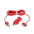 30 Pin Male to USB Male Data / Charging Cable + Car Charger for iPhone - Red