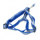 Adjustable Pet Dog Nylon Reflective Harness Belt Strap - Blue + Grey
