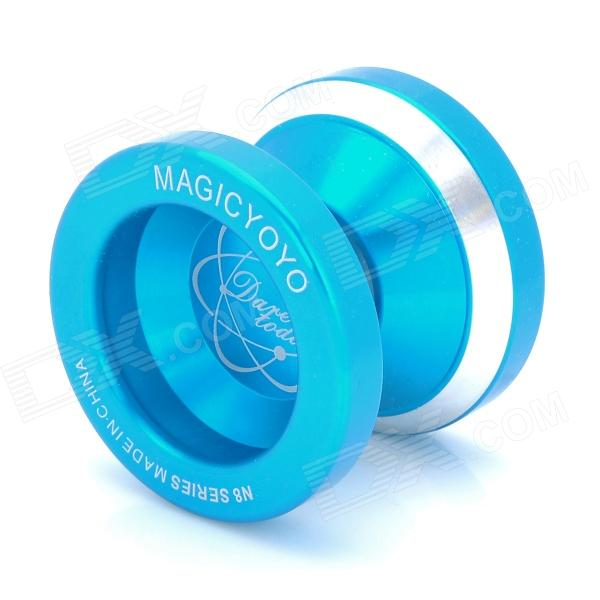 Magicyoyo N8 Professional Alloy YO-YO w/ Strap - Blue + SilverYo-Yo<br>ModelN8Quantity1Form  ColorGoldenMaterialAluminumQuantity1Weight67Max Diameter47.5Width41.2Gap Width4.67DivisionsA,2A,3ABearingUPacking List<br>