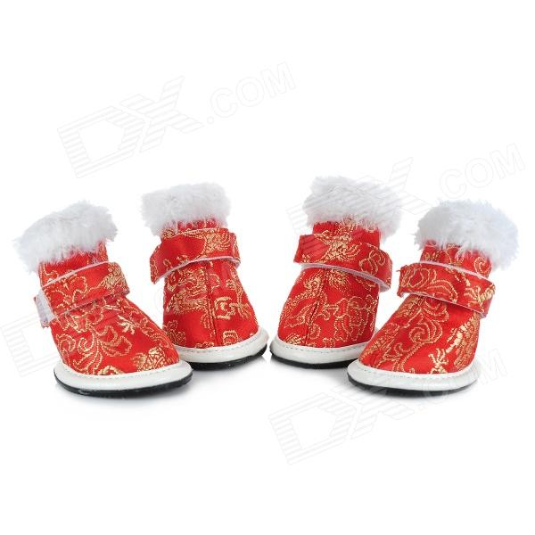 Chinese Red + Peony Pattern Shoes Boots for Pet Dog - Red (4 PCS) bestlead chinese peony pattern zirconia ceramics 4 6 knife chopping knife peeler holder