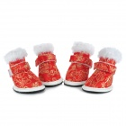 Chinese Red + Peony Pattern Shoes Boots for Pet Dog - Red (4 PCS)