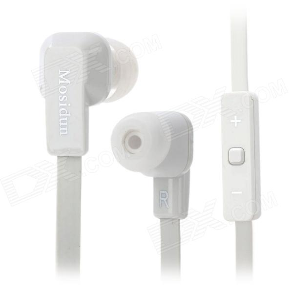 Mosidun MSD-610 Flat Cable In-ear Earphone w/ Microphone / Volume Control for Samsung / HTC - White
