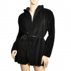 Fashionable Lady's Soft Plush Coat w/ Hat - Black