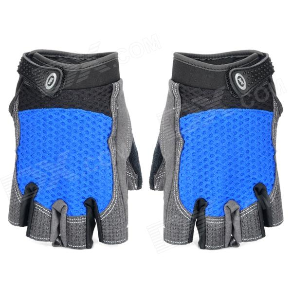 XLY 206 Outdoor Sports Cycling Half Finger Gloves - Black + Blue (Pair / Size-L)