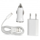 USB EU Plug Power Adapter + USB Car Charger + USB to 8pin Lightning Charge & Sync Cable - White