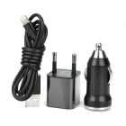 AC / Car Charger Adapter + USB auf 8-Pin Lightning Data / Ladekabel für iPhone 5 - Schwarz (100cm)