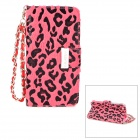 KALAIDENG Leopard Style Protective PU Leather Case w/ Hand Strap for Iphone 5 - Pink + Black