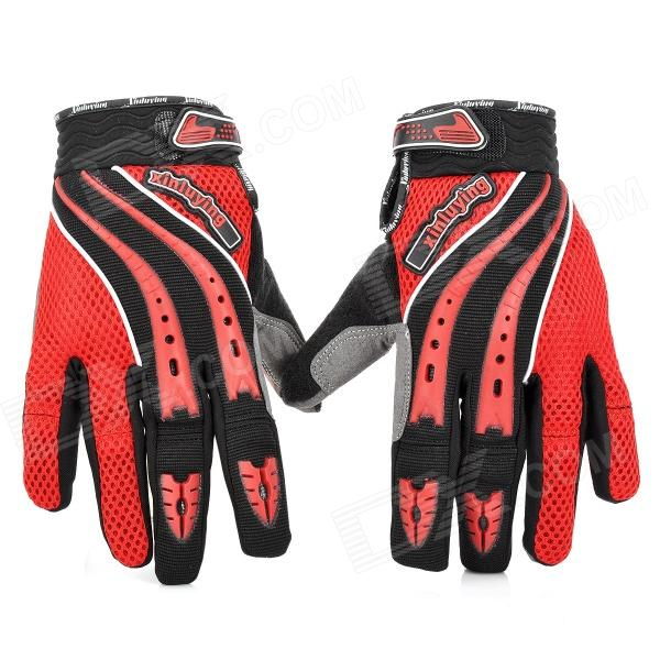 Y303 Motorcycle Bicycle Riding Anti-Slip Breathable Gloves - Red + Black (Pair / Size L)