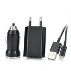 AC/Car Charger + USB Data / Charging Lightning Cable for iPhone 5 / iPad Mini - Black (EU Plug)