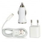 USB EU Plug Power Adapter + USB Car Charger + USB to 8pin Lightning Cable Set - White