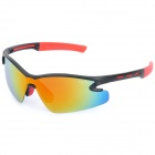 CASHIRO 9184 Outdoor Cycling Sport Windproof Polarized Sunglasses Goggle - Black + Red Revo