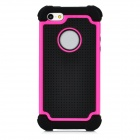 Protective Detachable PC + Silicone Back Case for Iphone 5 - Black + Deep Pink