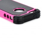 Caso protector desmontable PC + del silicón para Iphone 5 - Negro + color rosa oscuro
