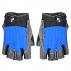XLY 206 Outdoor Sports Cycling Half Finger Gloves - Black + Blue (Pair / Size-M)