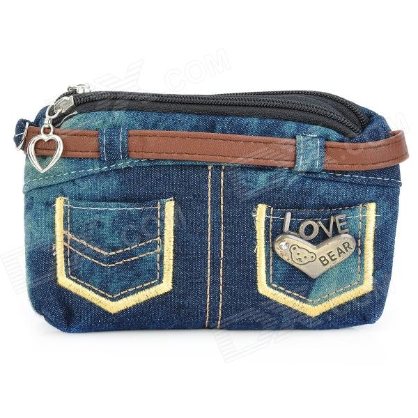 Creative DIY Jeans Style Double-zippered Canvas Wallet - Blue
