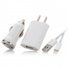 3-in-1 Car Charger + US Adapter + USB Cable Set for iPhone 5 / iPad Mini - White