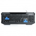 ZUNTUO ZK602 104-Key USB Wired Keyboard - Black + Blue (135CM-Cable)