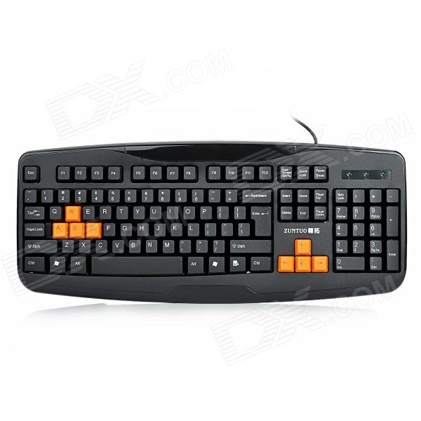 ZUNTUO ZK603 104-Key USB Wired Keyboard - Black + Orange (140CM-Cable)