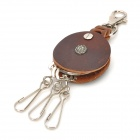 Round Style PU Leather + Zinc Alloy Keychain - Coffee + Silver