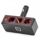 BD-0305 1-to-3 90 Degree Rotary 3-Sockets Car Cigarette Lighter Power Adapter w/ USB Port - Black