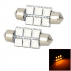 SJ50-36-6Y Festoon 36mm 1W 120lm 590nm 6-SMD 5050 LED Yellow Light Car Lamps - (DC 12V / 2 PCS)