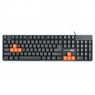 ZUNTUO ZK604 104-Key USB Wired Keyboard - Black + Orange (140CM-Cable)