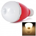 E27 5W 460lm 3500K Warm White LED Infrared Body Induction Lamp Bulb - Red (AC 100~240V)